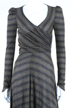 Biba Dress early 1970s. Bias cut lack and gold striped lurex wool jerseyl. This dress is a one-off, no others were produced.