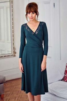 Long Tall Sally Women's Lace Insert Tea Dress Size 18 NEW Teal Green Blue LTS  #LongTallSally #Model05F19discontinuedproduct #PartyCocktail