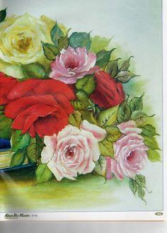 Pintura em Tecido Passo a Passo: Rosas- pintura em tecido