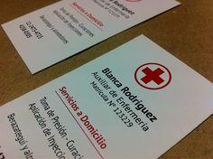 Últimos trabajos: diseño e impresión de tarjetas personales para Blanca Rodríguez - Auxiliar de Enfermería