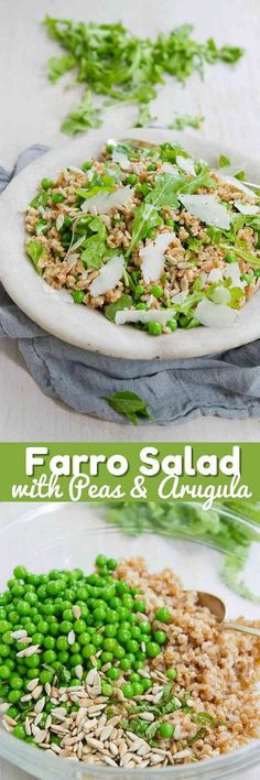 This easy whole grain Farro Salad Recipe with Peas and Arugula highlights the fresh flavors of spring! 152 calories and 4 Weight Watchers SmartPoints