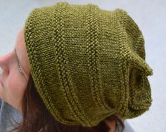 Knit Slouch Beanie CANYON Hand Knit in OLIVE by Gone2Pieces #slouch #slouchy #slouchey #beanie #hat #cap #college #teenage #highschool #trend #fashion #handknit #ribbed #olive #heather #handmade #green #olivedrab
