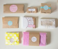 Samples of handmade goods packaging with Free Printable Labels {Handmade Collection} - EverythingEtsy.com