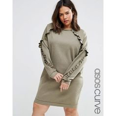 ASOS CURVE Sweat Dress With Frill Detail ($49) ❤ liked on Polyvore featuring dresses, green, plus size, plus size brown dress, brown dresses, brown ruffle dress, frill dress and women's plus size dresses