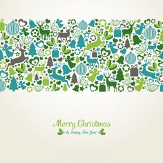 Christmas background with flat elements Free Vector