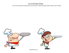 Cut out the food for the chefs and paste it onto their serving trays. What will they prepare today http://www.kidscanhavefun.com/cut-paste-activities.htm #cutandpaste #worksheets #preschool
