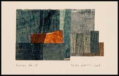 Yuko Kimura - Fusion no. 15, collage of monoprnts, enamel on copper, thread, 4.5 in x 5.75 in, 2009