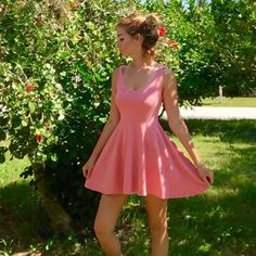 Sparkle & Fade peach skater dress Cute skater style pinkish peach UO dress in great condition. Comfy and flattering Urban Outfitters Dresses Mini