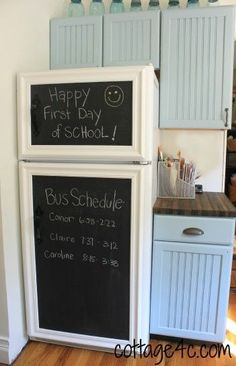 DIY:  Chalkboard Covered Fridge - great way to clean up the paper clutter & also a great way to camouflage an unattractive appliance - on a budget!!!  Tutorial.