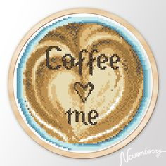 """Modern Embroidery hoop Quote art cross stitch pattern """"Coffee loves me"""" Instant Download Printable JPEG PDF"""