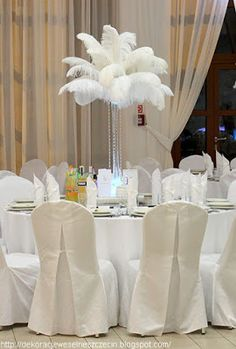 białe strusie pióra ślub W Hotel