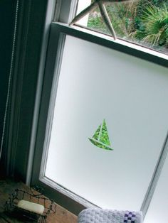Bathroom window - simple boat design in frosted film