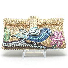 Bluebird Flower & Leaf Handmade Clutch Crystal Handbag