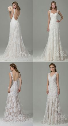 Sheath column open back lace wedding dresses CWVT15002   CWXT14061. #weddingdresses #cocomelody #dresses #wedding