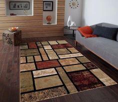 T1007 Beige Black Cream Green Rust Burgundy 5'2 x 7'2 Abstract Modern Area Rug Carpet