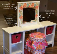 68 Ideas Children Furniture Diy Child Room For 2019 Little Girls Vanity Diy, Little Girl Rooms, Diy For Girls, Toddler Vanity, Childrens Vanity, Diy Childrens Furniture, Kids Furniture, Furniture Plans, Furniture Buyers