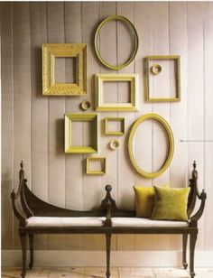 5 Unusual Ways to Use Picture Frames Leftover paint + thrift store frames = unified wall decor<br> Frames aren't just for displaying photos. Check out this 5 unusual ways to use picture frames without the pictures! Empty Picture Frames, Empty Frames, Frames On Wall, Painted Frames, Gold Frames, Framed Wall, Empty Wall, White Frames, Picture Wall