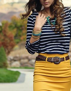 navy stripes and mustard with a brown belt, gold and turquoise accent jewelry, curls. I love these colors together.