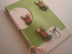 Green Joy Christmas Card Whimsical Reindeers by ScrappyNan on Etsy