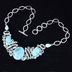 925 Sterling Silver With Larimar,Crystal,Blue Topaz Necklace #Handmade #Necklace