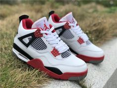 1c5fbed83a5087 Air Jordan 4 IV White  Fire Red   Nike Swoosh Air