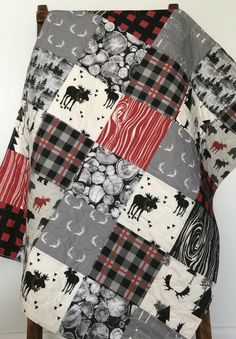 Baby Quilt Boy Woodland Plaid Crib Bedding Lumberjack by CoolSpool. make a christmas throw using old plaid shirts ( cr) Baby Boy Bedding, Baby Boy Quilts, Baby Boy Blankets, Baby Boy Nurseries, Crib Bedding, Modern Nurseries, Red And Black Plaid, Rag Quilt, Baby Quilts