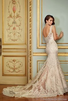 david tutera mc spring 2017 bridal sleeveless embrodiered strap sweetheart neckline full embellishment elegant glamorous fit and falre weddng dress scoop back chapel train (117288) bv -- David Tutera for Mon Cheri Spring 2017 Wedding Dresses