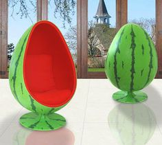 Furniture:Unique Design And Style Of The Inmod Egg Chair With Watermelon Fruit Motif Unique Design and Style of the Inmod Egg Chair Watermelon Patch, Ball Chair, Egg Chair, Cute Furniture, Furniture Decor, National Watermelon Day, Deco Design, Dream Homes, Decorating Rooms