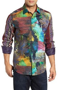 Make a bold statement on a night out in this vibrant sport shirt invigorated by abstract prints, jacquard texture and hand-embroidered details. Robert Graham, Sports Shirts, Night Out, Shirt Designs, Men Casual, Plus Size, Mens Fashion, Shirt Dress, Clothes For Women