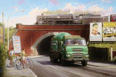 Choose your favorite locomotive paintings from millions of available designs. All locomotive paintings ship within 48 hours and include a money-back guarantee. Vintage Trucks, Old Trucks, Classic Trucks, Classic Cars, Beagle Mix Puppies, Road Transport, Train Art, Heavy Machinery, Art Uk