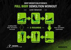 Advanced - Full Body Demolition Workout | bodyweighttrainingarena.com #workouts #calisthenics