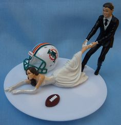 Perfect! <3 Wedding Cake Topper Miami Dolphins G Football Themed by WedSet, $59.99