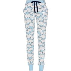 Cloud Legging ($43) ❤ liked on Polyvore featuring pants, leggings, bottoms, pajamas, pijamas, fitted pants, cuff pants, elastic waist pants, white trousers and embroidered pants