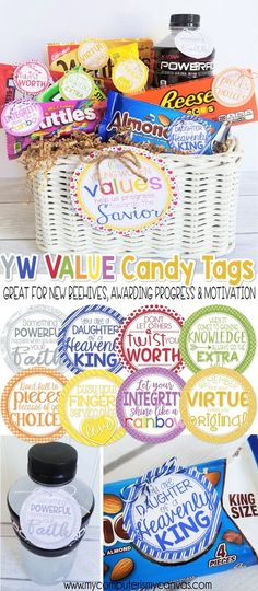 YW Value Candy Gift Tags, LDS Young Women Printable, value handout, gift, great for incoming beehives, personal progress encouragement, motivation and reward, recognition gift #mycomputerismycanvas