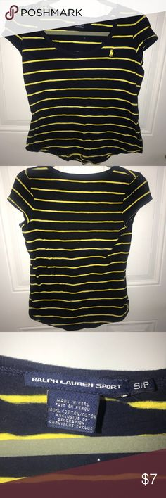 Polo Ralph Lauren Sport Navy & Yellow T-shirt Barely worn navy and yellow Polo T-Shirt. Although the picture looks black, it is navy! Perfect for WVU or Michigan Fans! 💙💛 Polo by Ralph Lauren Tops Tees - Short Sleeve