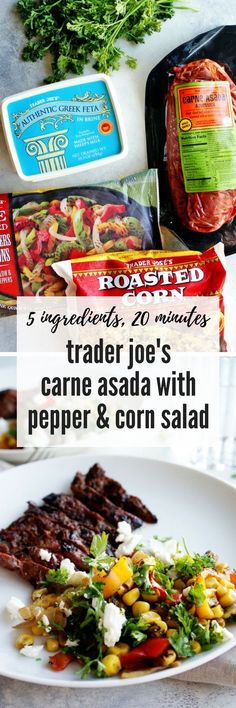 Easy Trader Joe's Recipe: Carne Asada with Pepper & Corn Salad – My Everyday Table Source by Trader Joe's, Trader Joes Food, Trader Joes Salad, Trader Joe Meals, Beef Recipes, Mexican Food Recipes, Cooking Recipes, Healthy Recipes, Recipies