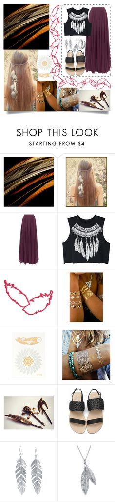 """Hope Is The Thing With Feathers"" by polyboho ❤ liked on Polyvore featuring Halston Heritage, WithChic, Flash Tattoos, Belk Silverworks, Nina B, Primrose, hope, polyvorecontest and coatedinfeathers"