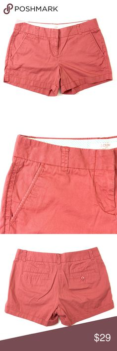 """J. Crew Chino Shorts J. Crew """"broken-in"""" Chino shorts in a rusty red color. Made of cotton in a size 2 size with a waist of 32"""" and inseam of 4"""". Excellent condition. Retail $59. J. Crew Shorts"""