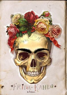 ✯ Frida Kahlo`s Skull with Vintage Roses :: Artist Mimi Ilnitskaya ✯