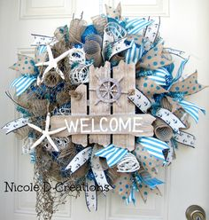 Summer Wreath Lake Beach House Nautical Sailing Fish Net Star Fish Ocean Blue and Burlap Mesh Indoor Outdoor Wall Door Home Decor Wreath! by NicoleDCreations on Etsy https://www.etsy.com/listing/236540010/summer-wreath-lake-beach-house-nautical