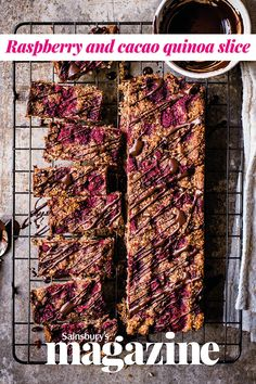 Our raspberry and cacao quinoa slice recipe is perfect if you're looking for a healthier vegan and gluten-free traybake. It stores for up to a week in the fridge Dairy Free Treats, Vegan Treats, Breakfast Bars, Breakfast Items, Salmon Diet, Vegan Mac N Cheese, Vegan Recipes, Snack Recipes, Vegan Desserts