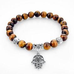 dfe6b904c480 Piedra del ojo del tigre colgante pulseras de los brazaletes de moda plata  fátima mano pulseras para mujeres hombres joyería nominación (Mainland)) Más