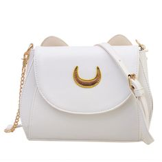 SheIn(sheinside) Crescent Patch Flap Bag With Cat Ears - White ($17) ❤ liked on Polyvore featuring bags, handbags, shoulder bags, patch purse, flap bag, white shoulder bag, white purse and white handbags