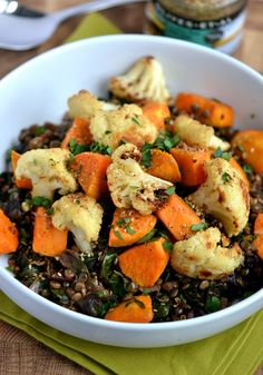 Middle Eastern Lentils with Roasted Cauliflower, Sweet Potatoes & Dukkah