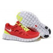 Nike Free Run 2 Zapatillas de Funcionamiento Mujer Universidad rojo/Blanco-Volt