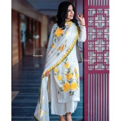 White rayon yellow flower printed plazzo suit - Fabric :Rayon digital print top( full stitched up to 42 )Rayon plazzo ( full stitched up to 42 )Georgette digital print dupatta with Pom Pom border work Dress Indian Style, Indian Dresses, Indian Outfits, Indian Wear, Indian Clothes, New Dress Design Indian, Desi Clothes, Western Dresses, Pakistani Dresses Casual