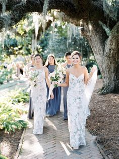 What do you think of printed bridesmaids' dresses? We love seeing brave brides mix and match them with our solid gowns! Printed Bridesmaid Dresses, Mismatched Bridesmaid Dresses, Wedding Bridesmaids, Wedding Attire, Wedding Dresses, Bride Party Ideas, Wedding Ideas, Wedding Stuff, Bridesmaid Inspiration