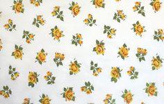 mustard & yellow tea roses, a vintage sheet fat quarter