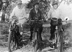 This 1920 photograph comes from the fantastic Museum Victoria collection, it depicts Glad Linaker, Lizzy Chinnery and Glad White sitting atop their v-twin motorcycles.