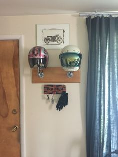 I made a helmet rack out of galvanized steel pipe!